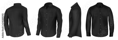 Fényképezés  Classic shirt of black silk with long sleeves and pockets on chest in half turn front, side and back view 3d realistic vector mockup set