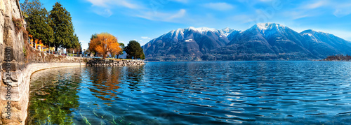 Boardwalk of Locarno with Panorama view at the Montains