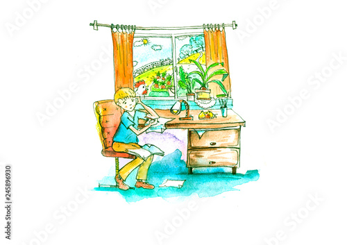Canvas Prints Athens the boy writes poetry, does his homework, thoughtfully look out the window, composes. Illustration of people in . Children's Watercolor illustration.