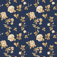 Floral Background With Golden Roses Flowers On Indigo