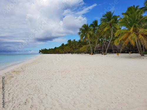 Foto  saona island empty white sand beach, government protected nature reserve, desert