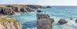 Leinwandbild Motiv French landscape - Bretagne. Panoramic view of the wild coast of Brittany with rocks and waves.
