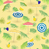 Tourism. Tropical seamless pattern with fruits palm leaves and beach umbrellas. Seamless vector pattern.