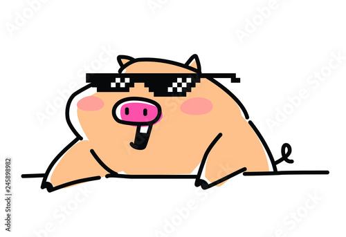 Fotografía pig; pop; star; musician; DJ; meme; pixel points; 8 bits; cute; rock; design; po