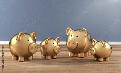 3D Illustration goldene Sparschweine Canvas Print