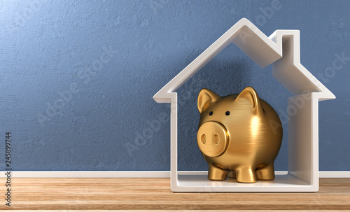 Obraz 3D Illustration goldenes Sparschwein Haus - fototapety do salonu