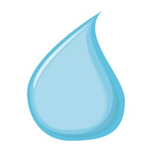 Blue Water Drop. Vector Blue Drop Of Water. Vector Drop Icon Isolated On White