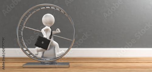 Foto 3D Illustration weißes Männchen mit Hamsterrad auf Holzboden