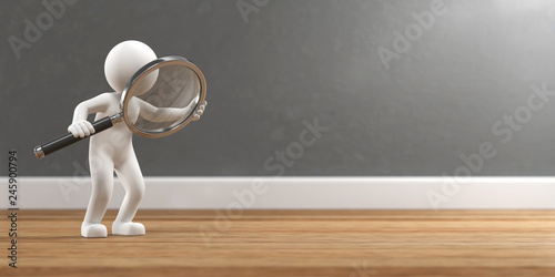 3D Illustration weißes Männchen mit Lupe Suche Fototapet