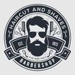 Barbershop vintage label, badge, or emblem on gray background. Vector illustration