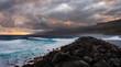 Leinwandbild Motiv Storm on the ocean, Waves hitting the breakwater.Puerto de la Cruz, Tenerife