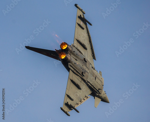 Eurofighter Typhoon British air forces during aerobatic training before aviation Canvas Print