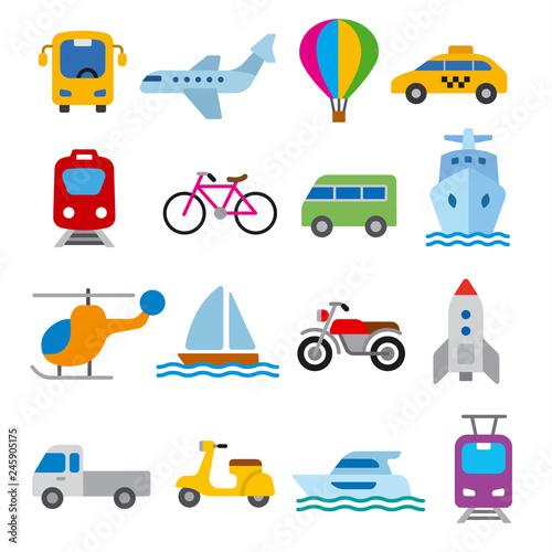 Garden Poster Cartoon cars transport icons set