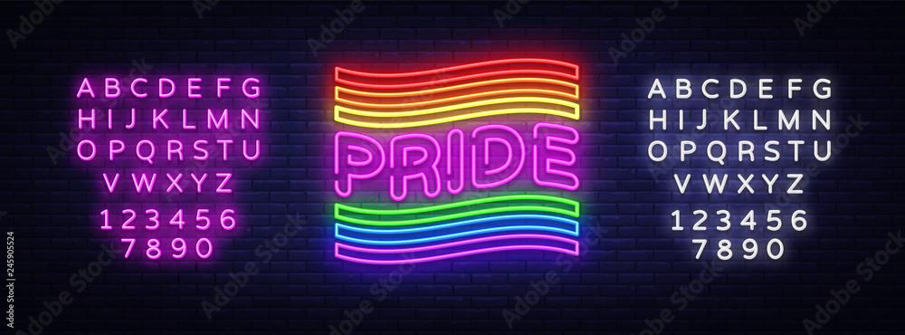 Fototapeta Pride neon text vector design template. LGBT neon logo, light banner design element colorful modern design trend, night bright advertising, bright sign. Vector illustration. Editing text neon sign