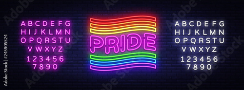Pride neon text vector design template Fototapet