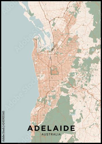 Adelaide (Australia) city map Canvas Print