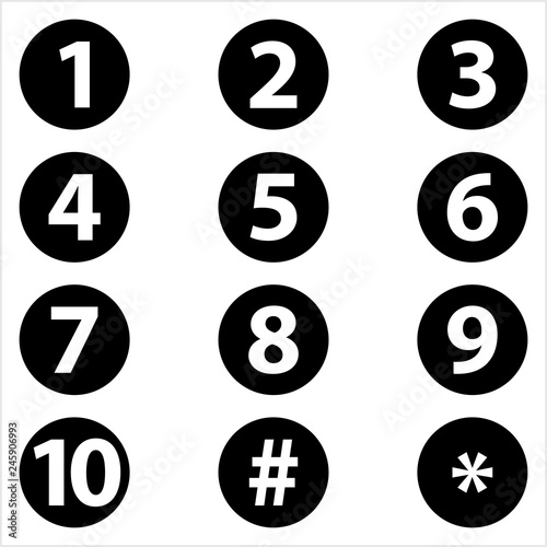 Fotomural  Number Center Aligned Inside Circle One To Ten