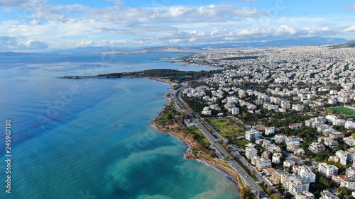 Aerial drone bird's eye view of small marina with boats docked in Voula, Athens Canvas Print
