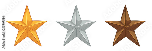 Fotografija Vector Set of Cartoon Metal Stars - Gold, Silver and Bronze.