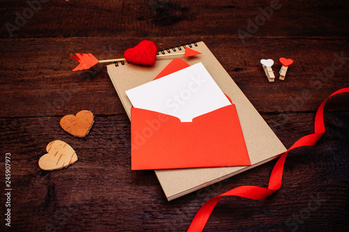 Valentines Day Greeting Card Banner Mockup With Copy Space
