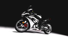 Sports Motorcycle On Black Bac...