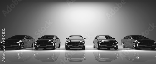 Fleet of black cars on light background.