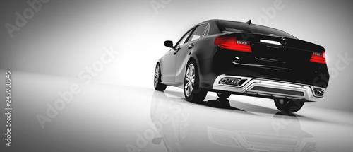 Obraz samochód  back-of-black-luxury-car-on-white-background