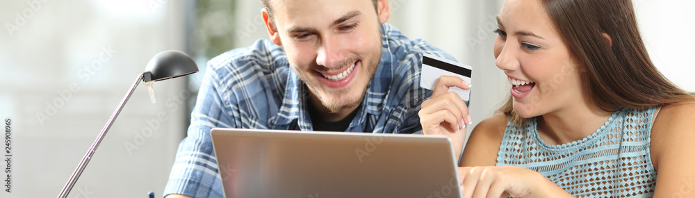 Fototapeta Banner of couple paying online with credit card