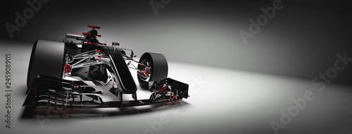 Modern F1 car on light background.