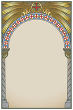 Early Medieval Byzantine Style Round Arch. Decorative Motiff Of Seraphim Or Cherubim Wings. Vertical Orientation. Vintage Color Palette. Hand Drawn Image. EPS10 Vector Illustration