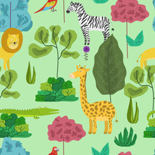 Cute Cartoon Seamless Pattern With Jungle Animals In Abstract Colorful Forest. Funny Hand Drawn Texture With Zebra, Lion, Giraffe And Parrot For Kids Design, Wallpaper, Textile, Wrapping Paper
