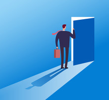 Businessman Opening Secret Door. Opportunity, Accessible Entering. Risk Solution And Leadership Business Vector Concept. Illustration Of Businessman Open Door Secret, Leadership Challenge Opportunity