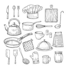 Hand Drawn Cooking Tools. Kitc...