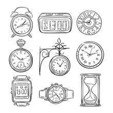 Sketch Clock. Doodle Watch, Alarm And Timer, Sand Clock Hourglass. Hand Drawn Time Vector Vintage Isolated Icons. Illustration Of Clock And Timer, Alarm And Hourglass