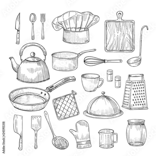 Fotomural Hand drawn cooking tools