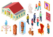 Isometric Museum. Art Gallery Exhibition Visitors Sculpture And Artworks. People In Museums. 3d Vector Set. Illustration Of Gallery And Isometric Museum Exhibition