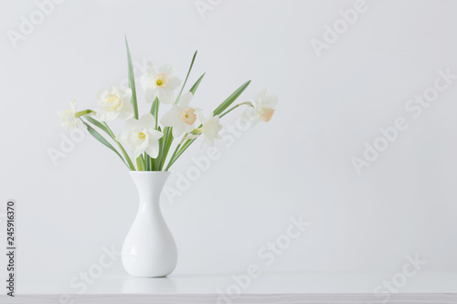 Fototapety, obrazy: spring flowers in white vase