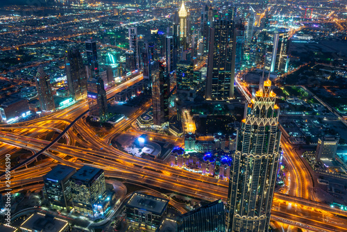 Aerial view of Dubai at night seen from Burj Khalifa tower, United Arab Emirates Fotobehang