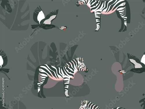 Cotton fabric Hand drawn vector abstract cartoon modern graphic African Safari Nature concept collage illustrations art print with zebra animals and crane bird in wild outdoor isolated on dark color background