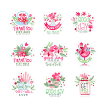 Thank You, Good Day, Get Well Logo Design Set, Holiday Card, Banner, Invitation With Lettering, Colorful Label With Floral Elements Vector Illustration