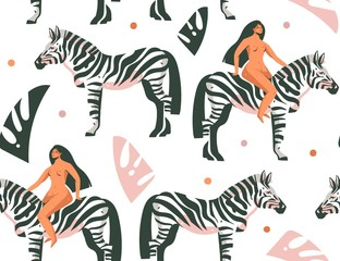 Fototapeta na wymiar Hand drawn vector abstract cartoon modern graphic African Safari Nature concept collage illustrations art print with zebra animals in the wild and wild women character isolated on white background