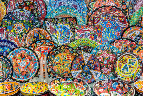 Colorful pottery dishes in Dubai souks, Unied Arab Emirates