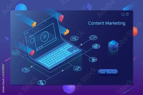 Content Marketing, Blogging and SMM concept.Landing page