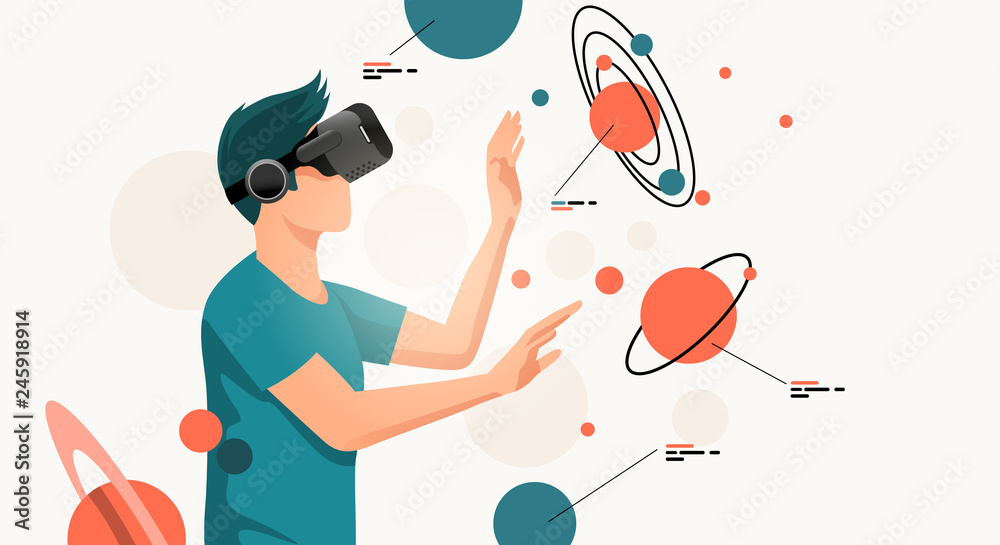 Fototapeta A young man moving objects around using a virtual reality VR headset. People vector illustration.
