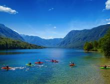 Kayakers On Mountain Lake