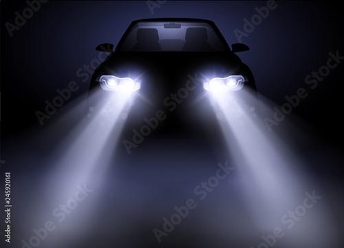 Obraz Bright and modern auto generic car headlights shining through fog at night. Vector illustration. - fototapety do salonu