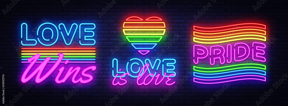 Fototapeta Big set neon sign. LGBT neon signs vector design template. Gay Pride neon logo, light banner design element colorful modern design trend, night bright advertising, bright sign. Vector illustration