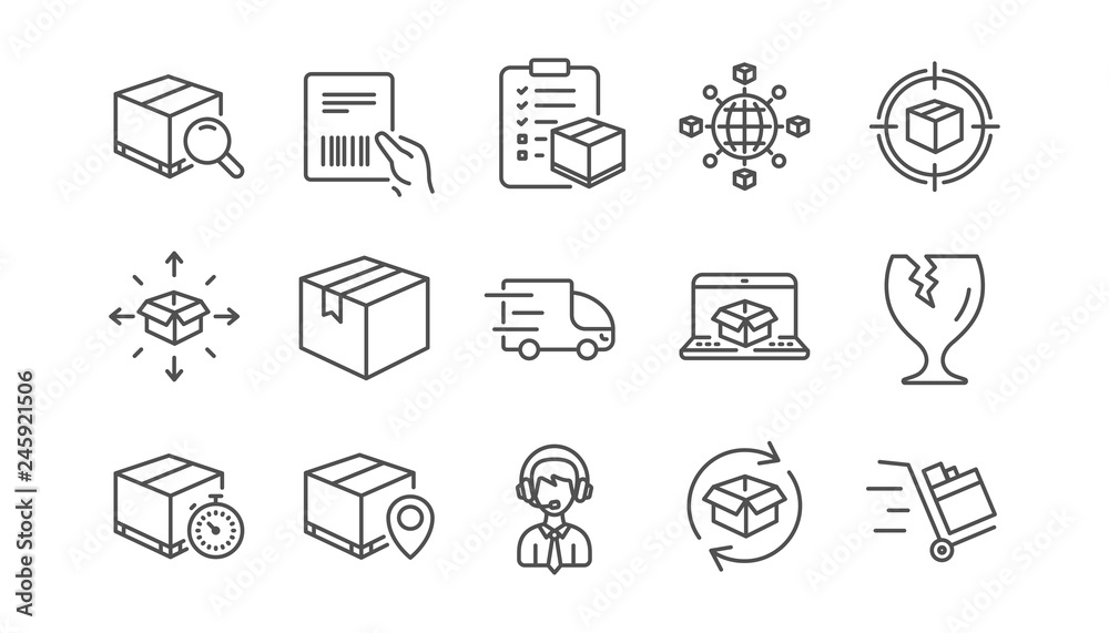 Fototapeta Logistics and Shipping line icons. Truck Delivery, Checklist and Parcel tracking. Cargo linear icon set.  Vector