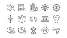 Logistics And Shipping Line Icons. Truck Delivery, Checklist And Parcel Tracking. Cargo Linear Icon Set.  Vector