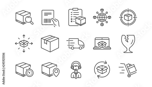Fotomural  Logistics and Shipping line icons